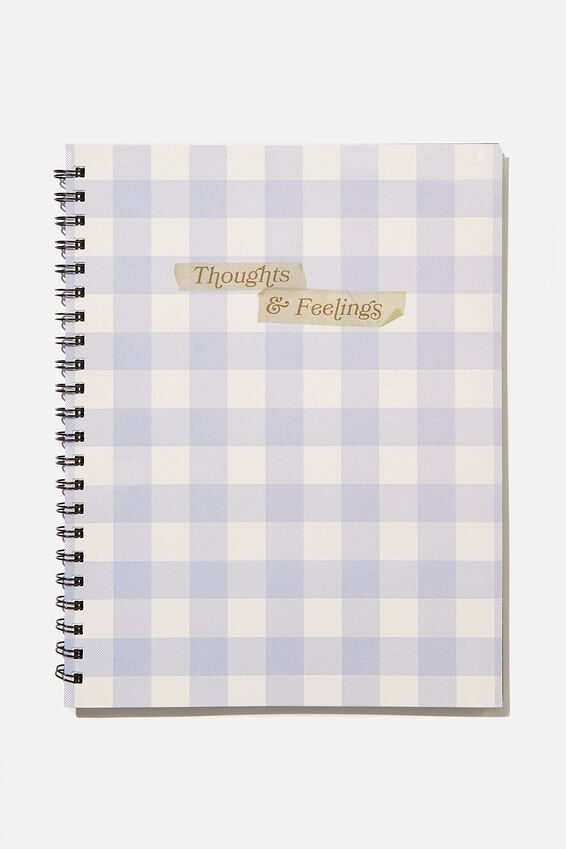 A4 Campus Notebook Recycled, PALE LILAC GINGHAM