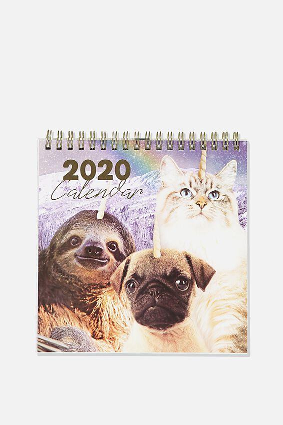 2020 Get A Date Flip Desk Calendar, ANICORNS