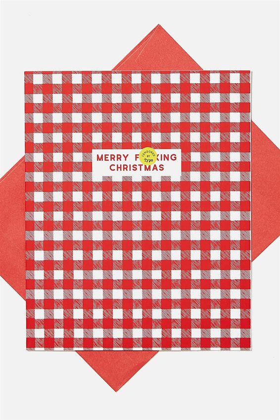 Christmas Card 2020, MERRY F*CKING CHRISTMAS GINGHAM!!
