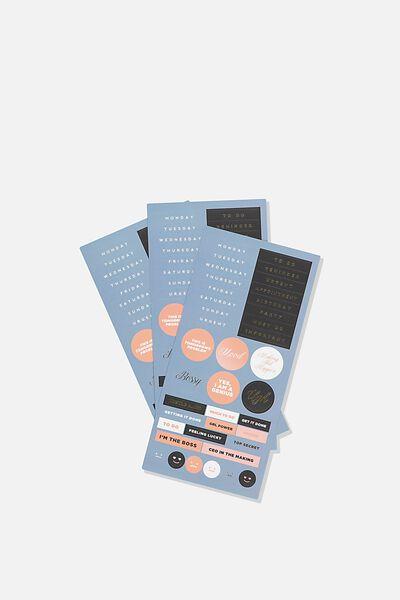 Sticker Pack, BLUE & CORAL