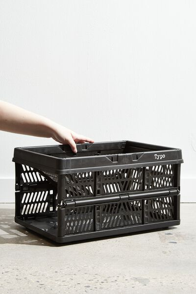 Large Foldable Storage Crate, BLACK