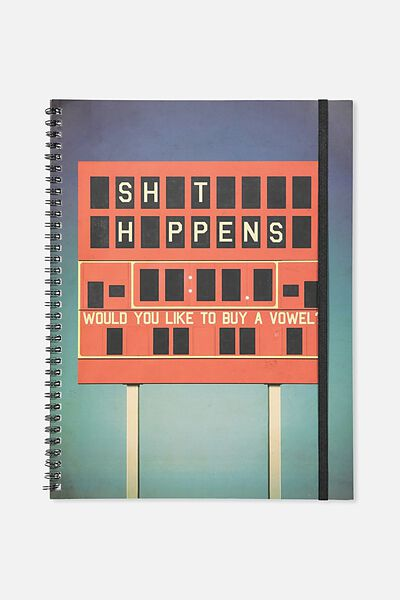 A4 Spinout Notebook - 120 Pages, SHIT HAPPENS!