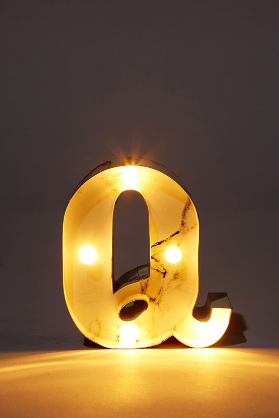 Mini Marquee Letter Lights 10cm, MARBLE Q