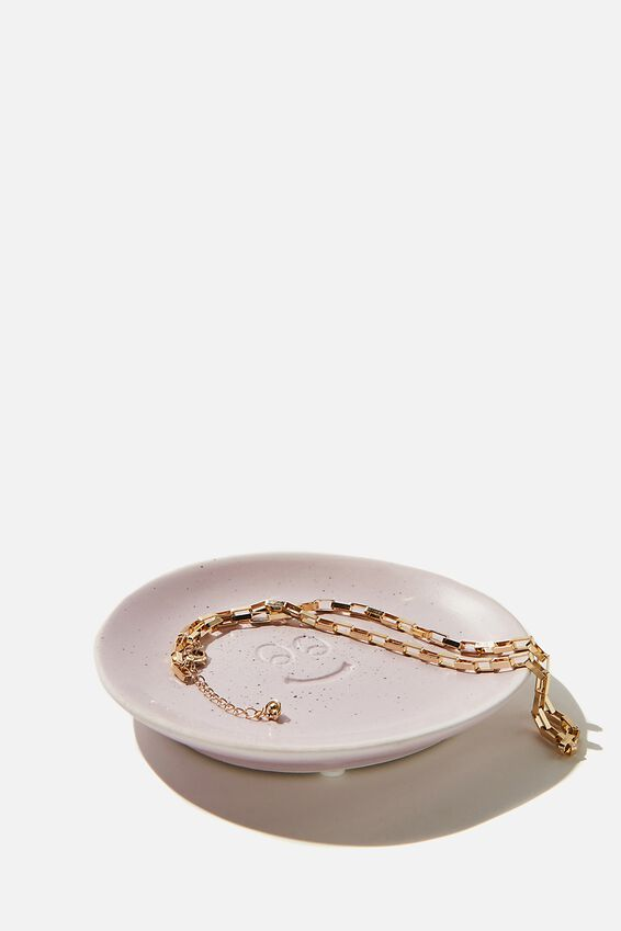 Mood Ceramic Tray, LILAC SPECKLE HAPPY FACE