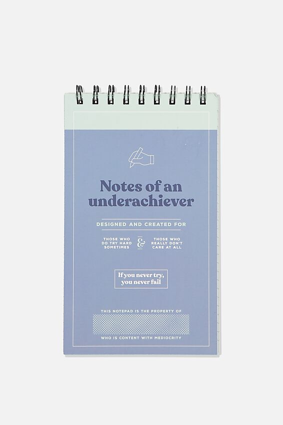 Flipout Notepad Recycled, UNDERACHEIVER BLUE