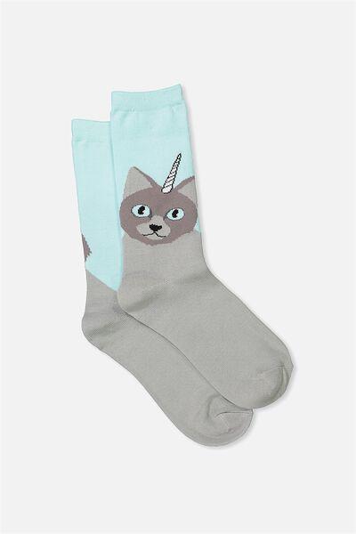 Womens Novelty Socks, GREY CATICORN