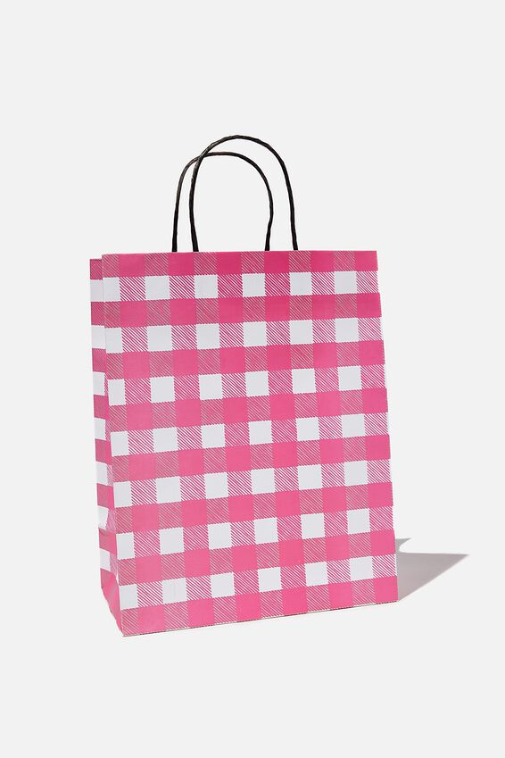 Get Stuffed Gift Bag - Medium, PINK GINGHAM SMALL