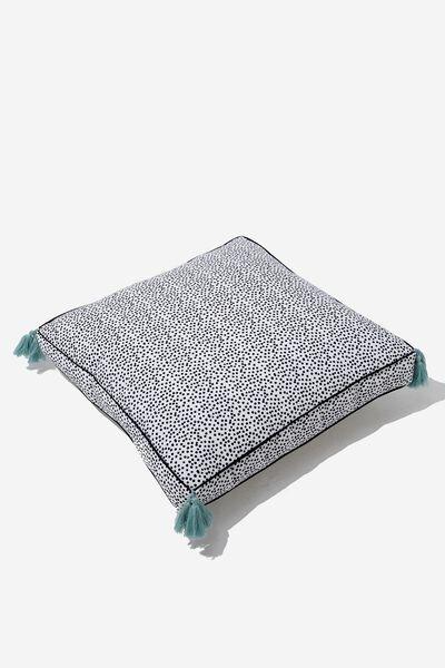 Floor Cushy Cushion, BLACK & WHITE POLKA
