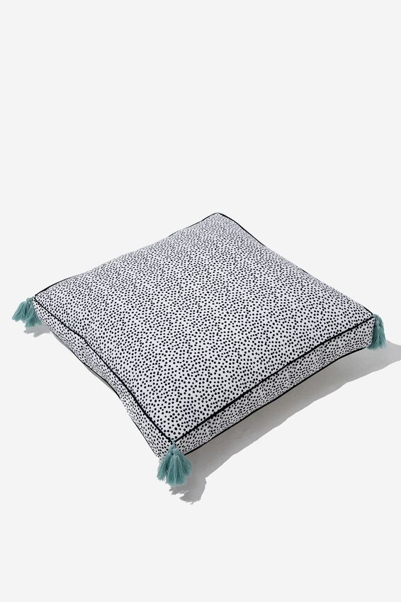 Floor Cushy Cushion, BLACK & WHITE POLKA
