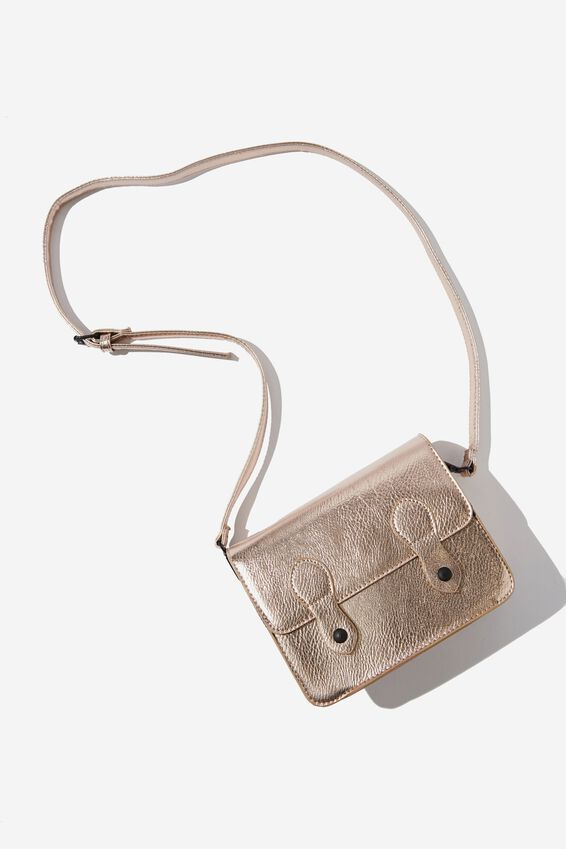 Mini Buffalo Satchel Bag, ROSE GOLD