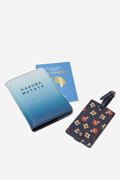 Passport Holder & Luggage Tag Set, LCN DIS TIMON & PUMBAA