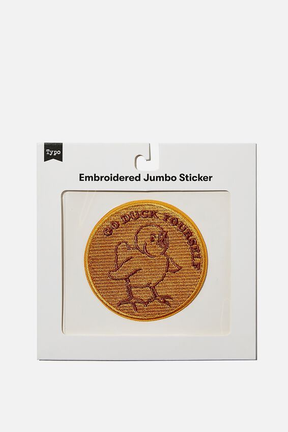 Embroidered Jumbo Sticker, GO DUCK YOURSELF