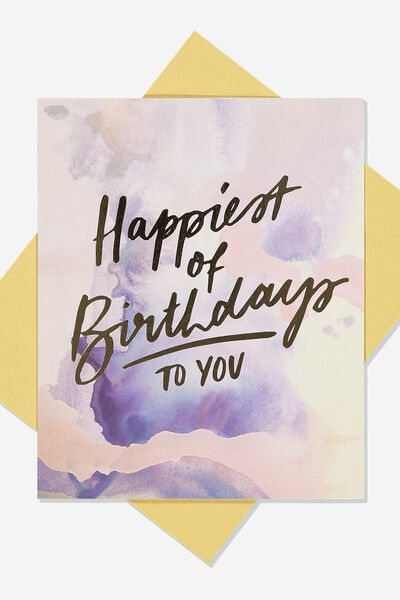 Nice Birthday Card, PURPLE WATERCOLOUR