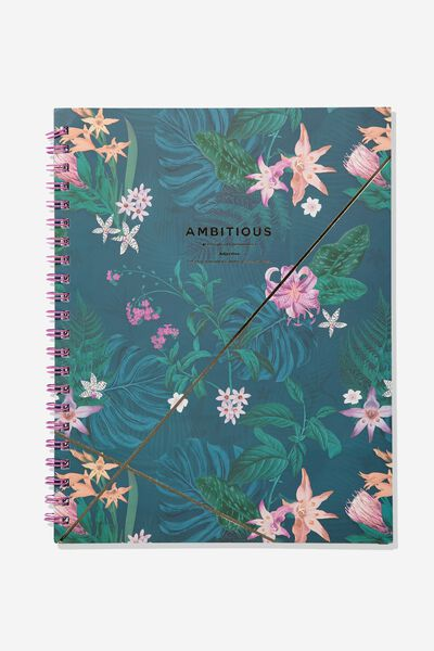A4 Campus Notebook, AMBITIOUS JUNGE FLORAL