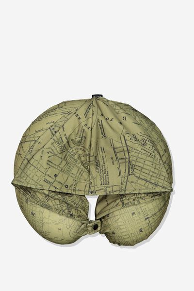 Travel Pillow With Hood, KHAKI MAP