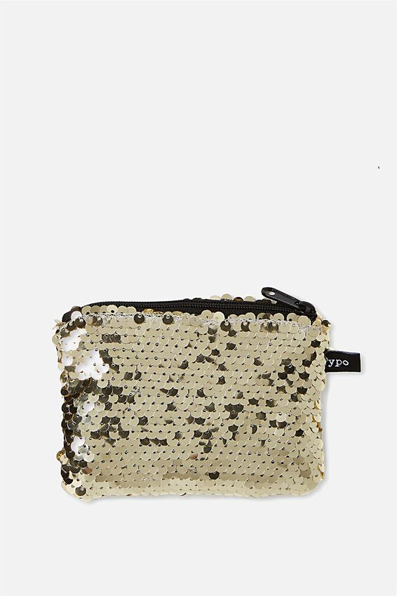 Penny Coin Purse, SOFT GOLD SEQUIN