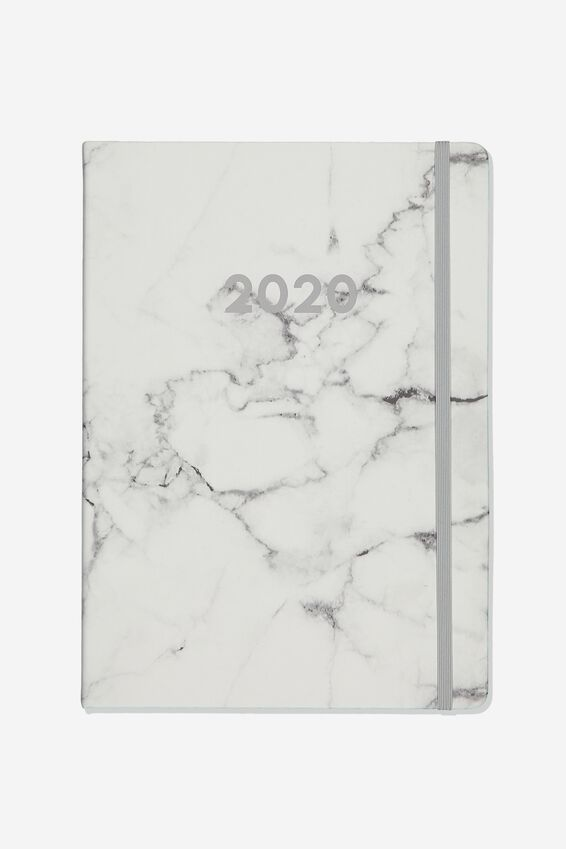 2020 A4 Weekly Buffalo Diary, WHITE MARBLE