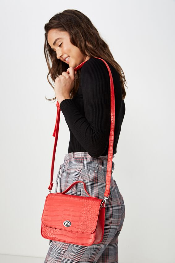 Mini Turnlock Satchel Bag, RED CROC