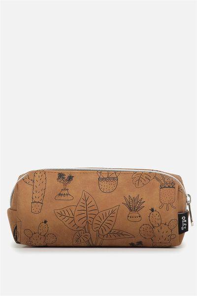 Bailey Pencil Case, TAN CACTUS