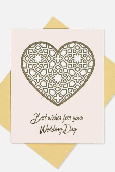 Wedding Card, BEST WISHES GOLD HEART