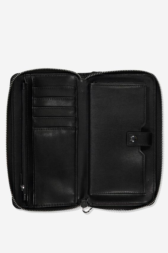 Zip Around Wallet, BLACK WITH STUD DETAIL
