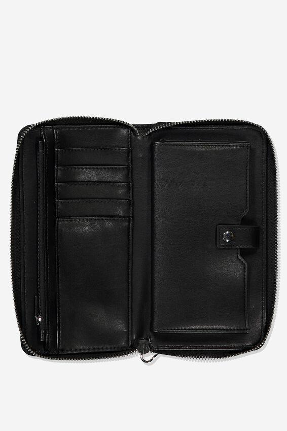 Zip Around Wallet, BLACK WITH STUD DETAIL