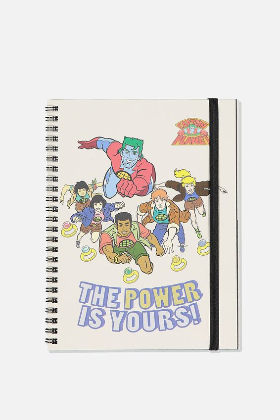 A5 Captain Planet Spinout Notebook Recycled, LCN CNW CP THE POWER IS YOURS