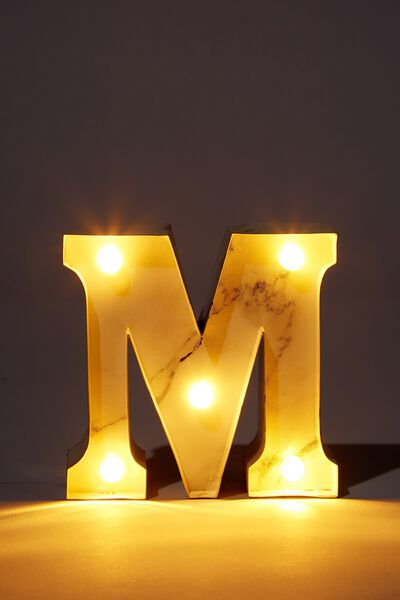 Mini Marquee Letter Lights 10cm, MARBLE M
