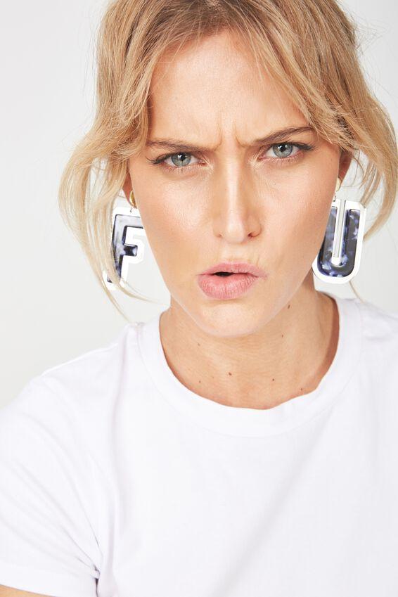 Premium Novelty Earrings, FU!