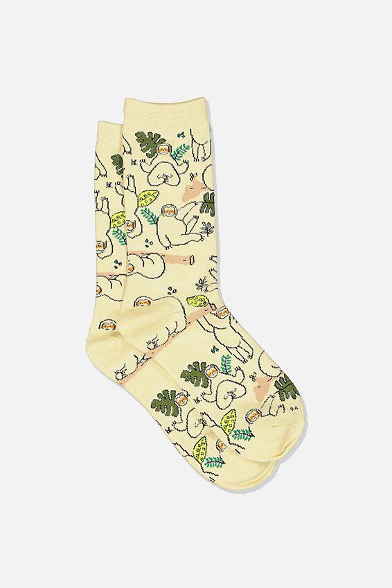 Novelty Socks, SLOTH AND LEAVES