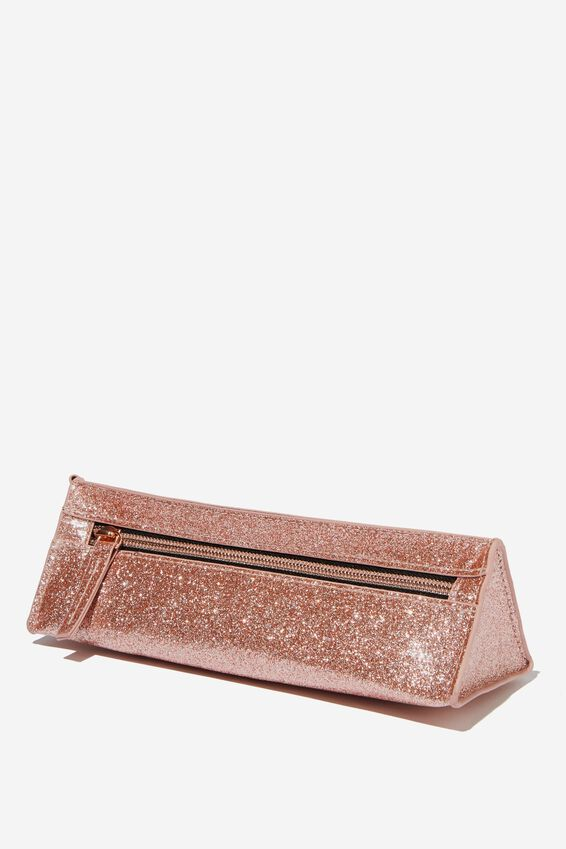 Tri Side Pencil Case, ROSE GOLD GLITTER