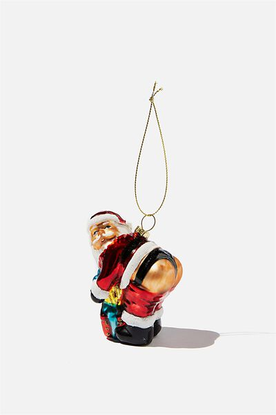 Glass Christmas Ornament, GLASS SANTA BUM!