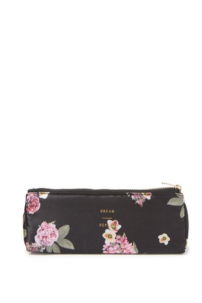 Pu Printed Case With Guesset, BLACK FLORAL