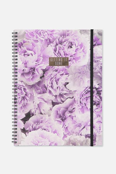 A4 Spinout Notebook - 120 Pages, LILAC PEONIES