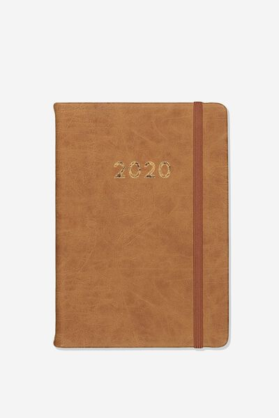 2020 A5 Daily Buffalo Diary, MID TAN