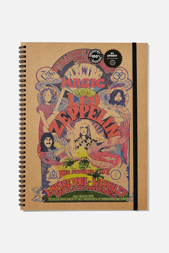 A4 Led Zeppelin Spinout Notebook Recycled, LCN LED ZEPPELIN