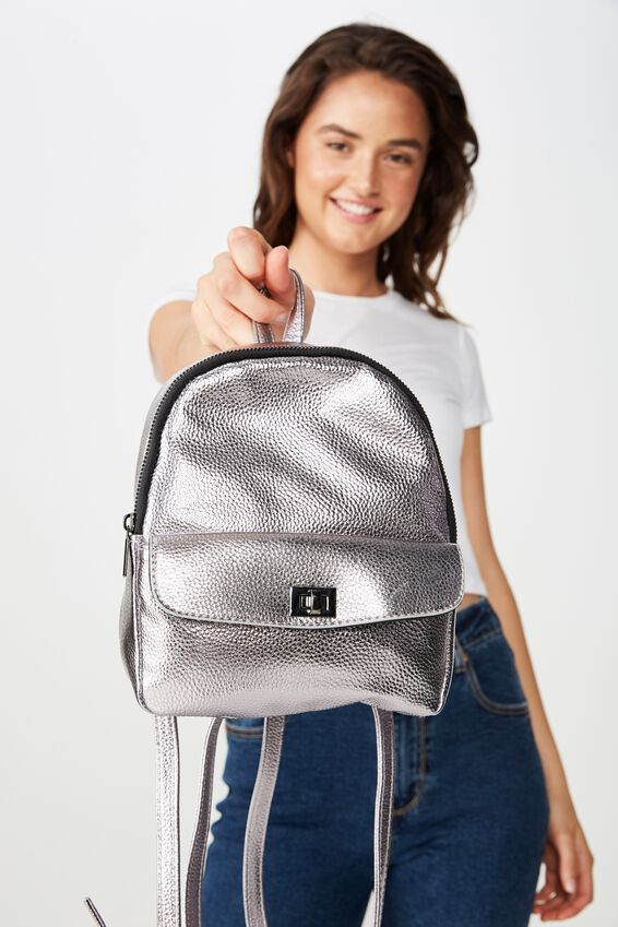 Mini Cairo Backpack, GUNMETAL TURNLOCK