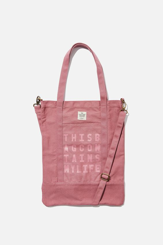 Book Tote Bag, DUSTY ROSE QUOTE