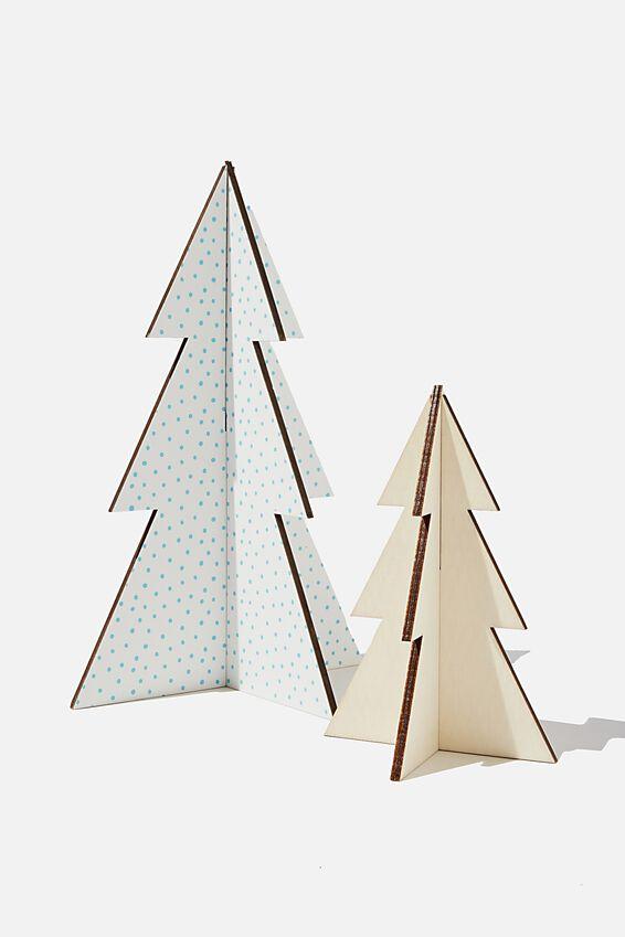 Wooden Mini Christmas Tree Pack, WHITE POLKA & NATURAL