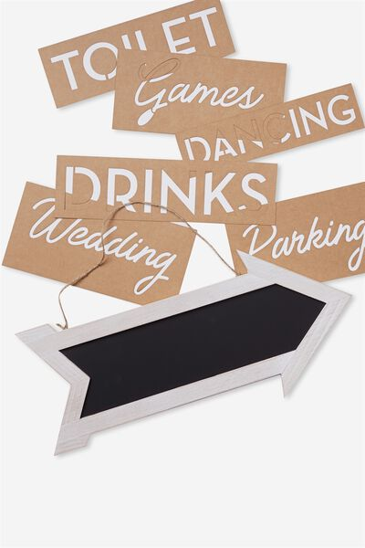 Chalk Board Sign, WHITE WASH