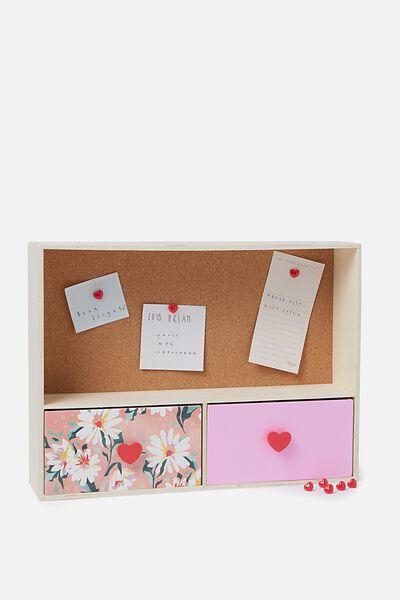 Noticeboard Storage, FLORAL & PINK