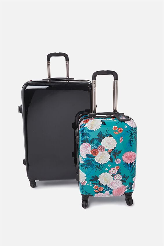 Suitcase Luggage Bundle, BLACK FLORAL