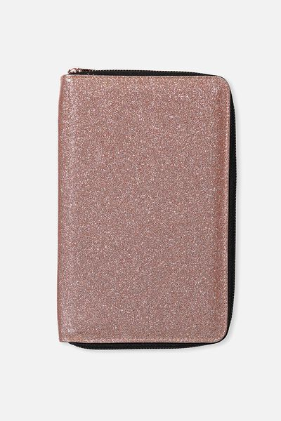 Jetsetter Travel Wallet, ROSE GOLD GLITTER