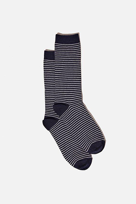 Socks, NAVY PINSTRIPE