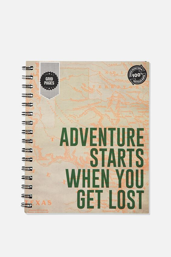 A5 Campus Notebook Grid Internal Recycled, GET LOST