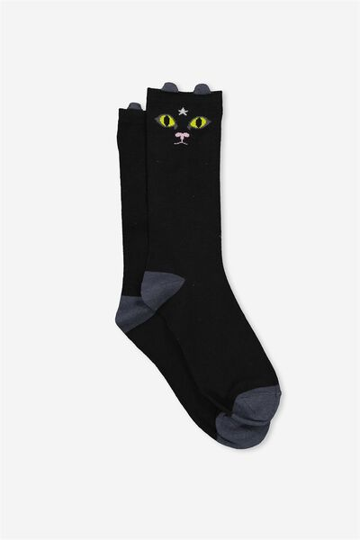 Womens Novelty Socks, BLACK CAT