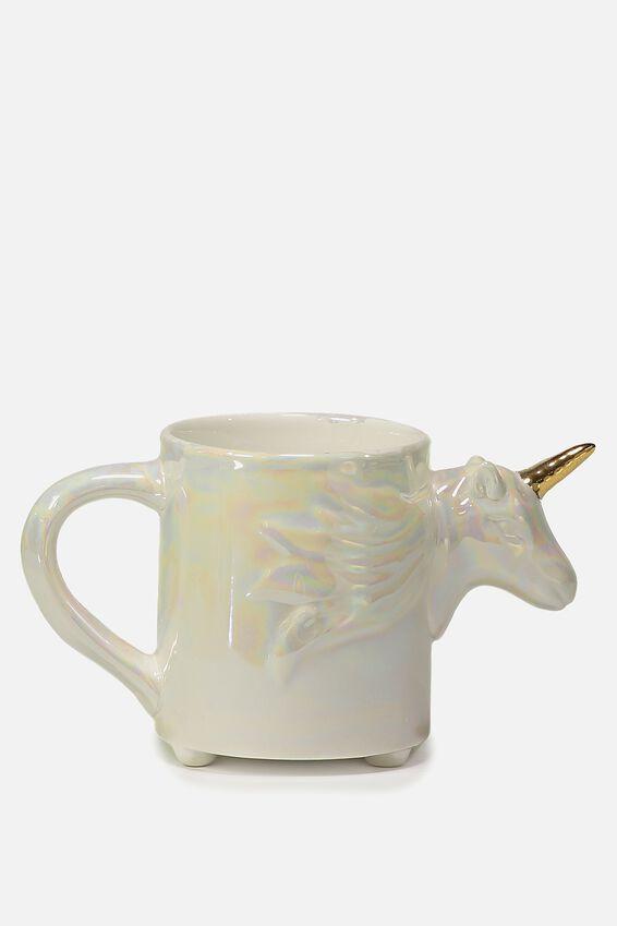 Novelty Shaped Mug, IRIDESCENT UNICORN