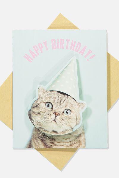 Premium Nice Birthday Card, BOBBLE HEAD CAT HAT