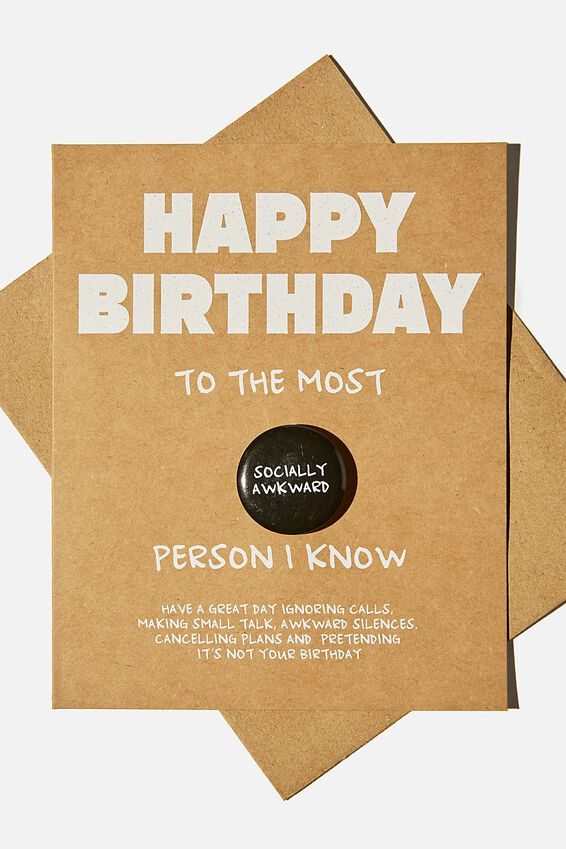 Premium Badge Card, SOCIALLY AWKWARD BIRTHDAY BADGE