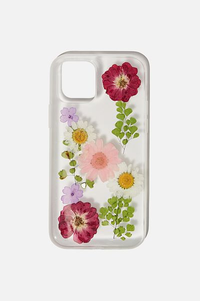 Snap On Protective Phone Case Iphone 12, 12 Pro, TRAPPED DAISY WITH PINK & PURPLE FLOWERS